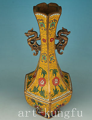 Chinese casting  Bronze Cloisonne Collection Dragon Vase