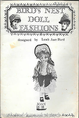 "Vintage 1978 bird's nest doll fashions ""JOAN"" 15-16"" sewing pattern clothing cut"