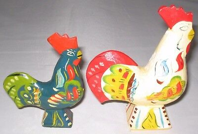 """2 Dala Roosters 4"""" & 5"""" From Sweden"""