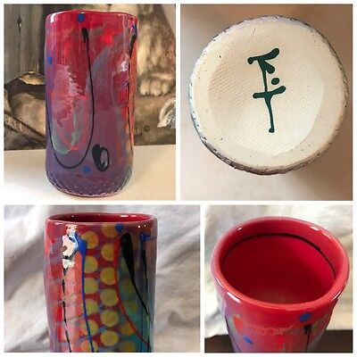 Abstract Studio Art Pottery Asian Small Vase Cup Japanese Chinese Signed Marked