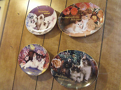4 Nancy Matthews Collector Cat Plates - Plate Hangers Included