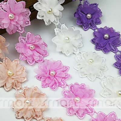 Mixed Color Crochet Stereo Sunflower Chiffon Pearl Lace Trim Ribbon Sewing 4cm