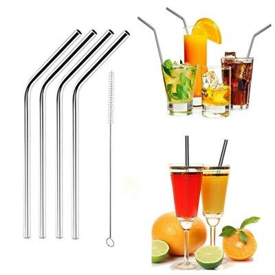 4Pcs Stainless Steel Metal Drinking Straw + Cleaner Brush Kit Party Bar Supply