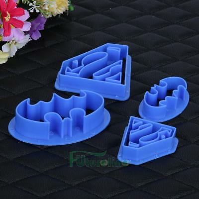 4 pcs Cookie Cutters Super Hero Batman Superman Sugarcraft Cake Tool Decoration