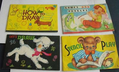 Lot of 4 Children's Books 1953 How to Draw, Stencil, Games & Puzzles Soft Cover