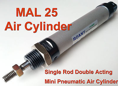 NEW MAL 25mm x 200mm Single Rod Double Acting Mini Pneumatic Air Cylinder 25x200