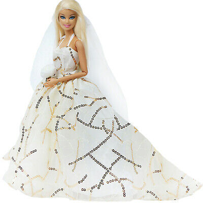 White Sequin Wedding Party Dress Evening Outfit Clothes For 11.5 inch 1/6 Doll