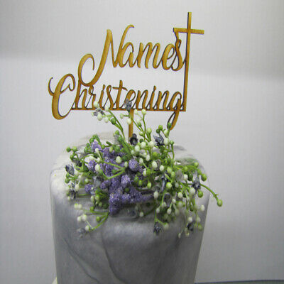 Laser Cut Wooden Cake Topper - Personalised Name Christening