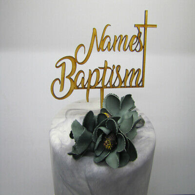 Laser Cut Wooden Cake Topper - Personalised Name Baptism