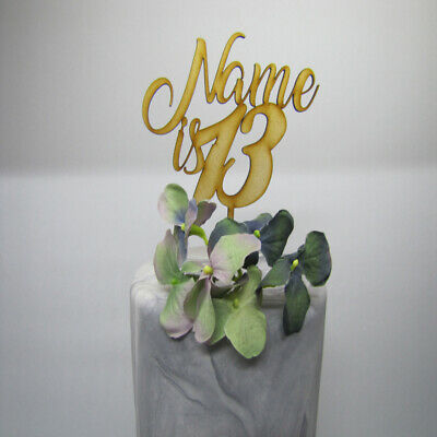 Laser Cut Wooden Cake Topper - Personalised Name & Age