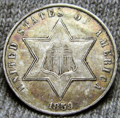 1859 Silver Three Cent Piece 3cp --- TYPE COIN --- #A258