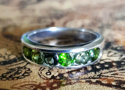 Green Tourmaline Ring, Size 6 US, Sterling Silver, stacking ring