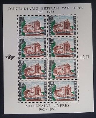 RARE 1962 Belgium 1000th Anniv of the City of Ypres Minisheet with 8 stamps Mint