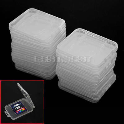 20Pcs Transparent Plastic Cases Box Storage for Memory Card Cases SD SDHC Card