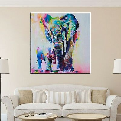 Modern Hand-painted Art Oil Painting Abstract Wall Home Decor Elephant Canvas