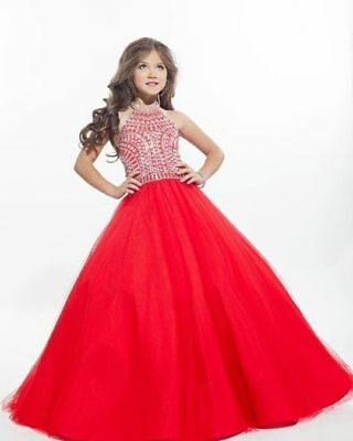 Hot Sale In Stock Halter Red Beads Flower Girls Dress Kids Formal Ball Prom Gown