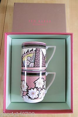 Set Of Two Portmeirion For Ted Baker Stacking Mugs - Tribalmix (BNIB)