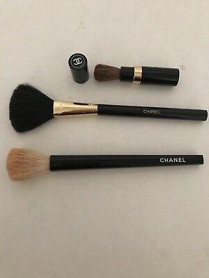 Chanel Powder/blush Brushes Set Of 3 Pieces Vintage
