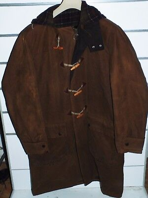 barbour a869 Hooded WAX DUFFLE Coat waxed cotton jacket  L