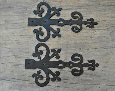 """Vtg iron handpierced french gothic church gate door hinges front pair 10.5"""""""