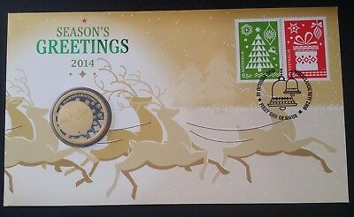 2014 Australia Seasons Greetings PNC with $1 coloured UNC coin and 2 stamps