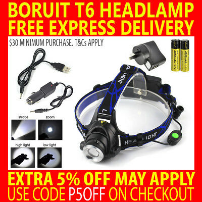 Rechargeable Boruit 12000Lm Cree T6 Xml Led Headlamp Headlight Zoom Torch Lamp