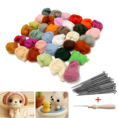 36 Colors Wool Felt + Needles Felt Tool Set Needle Felting Mat Starter Tool Kit