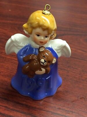 Goebel Angel Bell Ornament Blue Angel & Teddy Bear 1991 16th Edition w Box