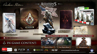 Assassin's creed 3 III Freedom edition PS3 or XBOX360 or PC AUS PAL NEW SEALED