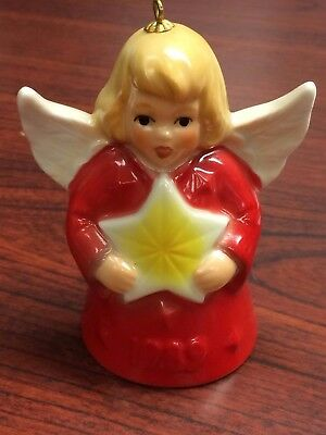 Goebel Angel Bell Ornament Red with Star 1989  14th Edition w Box