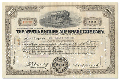 Westinghouse Air Brake Company Stock Certificate