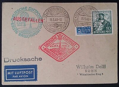 RARE 1949 Germany (British US Zone) 1st Balloon Airmail Card canc Bergneustadt