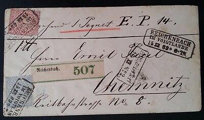 RARE 1869 Germany (Northn Post Dist) Registd Cover ties 2 stamps cnc Reichenbach