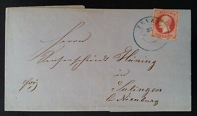 RARE 1861 Germany (Hannover) Folded Cover ties 1 Gr rose King George V stamp