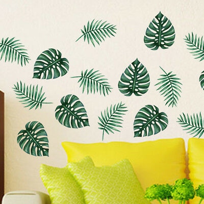 AU Large Green Palm Leaf Wall Art Mural Removable Vinyl Decal Sticker Home Decor