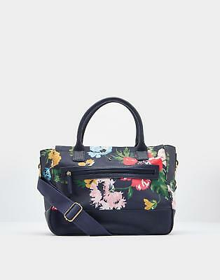 Joules Day To Day Printed Canvas Shoulder Bag in French Navy Posy in One Size
