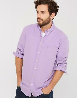 Joules Mens Lambert Long Sleeved Classic Fit Shirt in 100% Cotton in Purple