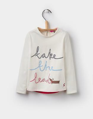 Joules Girls Bessie Screen-Print Top 1-6 Years in Cream Take the Lead Design