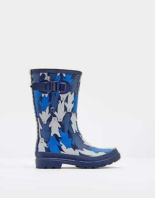 Joules Boys Printed Wellies Boots in 100% Rubber in Blue Multi Bear Camo