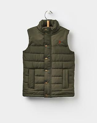 Joules Boys Matchday Padded Fleece Lined Gilet 3-12 Years in Dark Pine Green