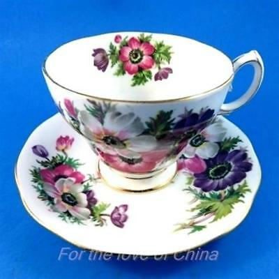 Pretty Colorful Anemone Queen Anne Tea Cup and Saucer Set