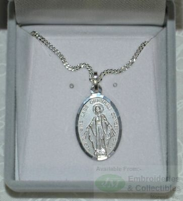 Sterling Silver Miraculous Medal and Chain In Box