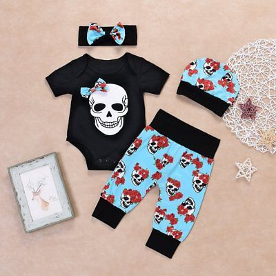 4pcs Newborn Baby Boy Girl Skull Clothes Tops Romper +Long Pants Hat Outfits Set