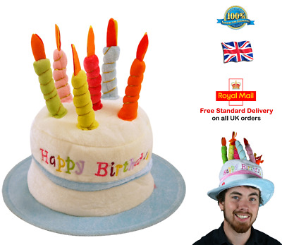 HAPPY BIRTHDAY HAT Cake Hat Candle Hat Adult Mens Boys One Size BLUE Hat