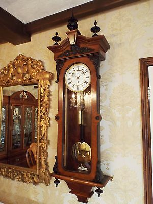 Antique 1 weight Vienna regulator wall clock walnut by Lenzkirch.