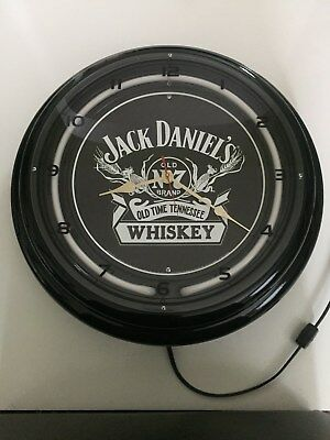 Jack Daniel's whiskey collectible clock. Old no.7. Blue neon light ring.