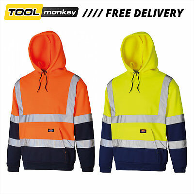 Dickies Hi Vis Hi viz Hoodie Sweatshirt Jumper GO/RT Railway Work Two Tone