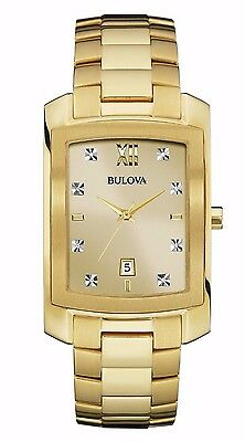 Bulova Men's 97D107 Genuine Diamond Markers Yellow Gold Quartz Dress 31mm Watch