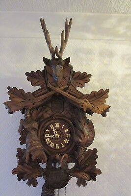 Vintage Hand Carved 8 Day 2 Train Cuckoo Clock Perfect Working Order & Condition