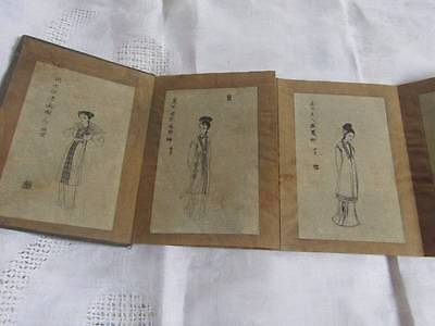10 Rare Antique Oriental Sketch Drawings Concertina Book Calligraphy